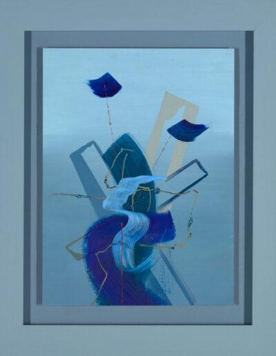 framed blue abstract painting by artist aisling Drennan, Affordable original art uk