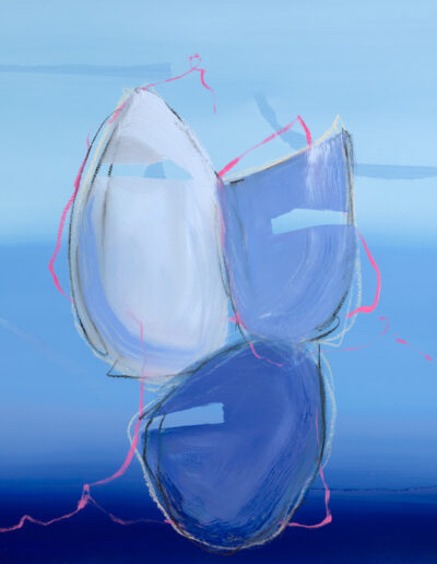 blue and pink abstract oil painting by aisling drennan abstract artist, original oil paintings for sale uk, buy abstract art online uk