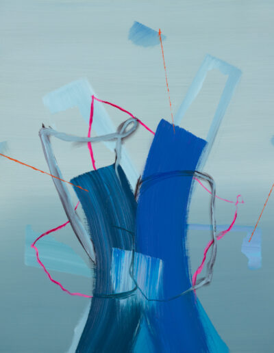 blue, pink and grey abstract painting by artist aisling drennan, Abstract art for sale uk Abstract art for sale by artist