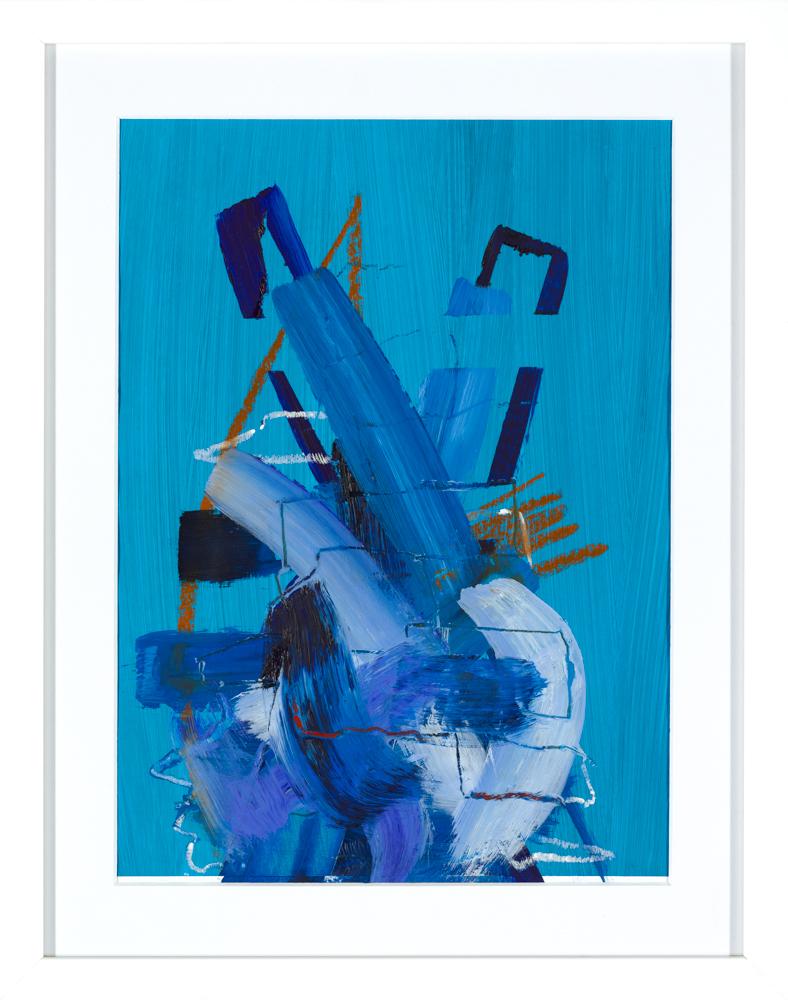 blue abstract art print by aisling drennan, contemporary abstract art prints uk