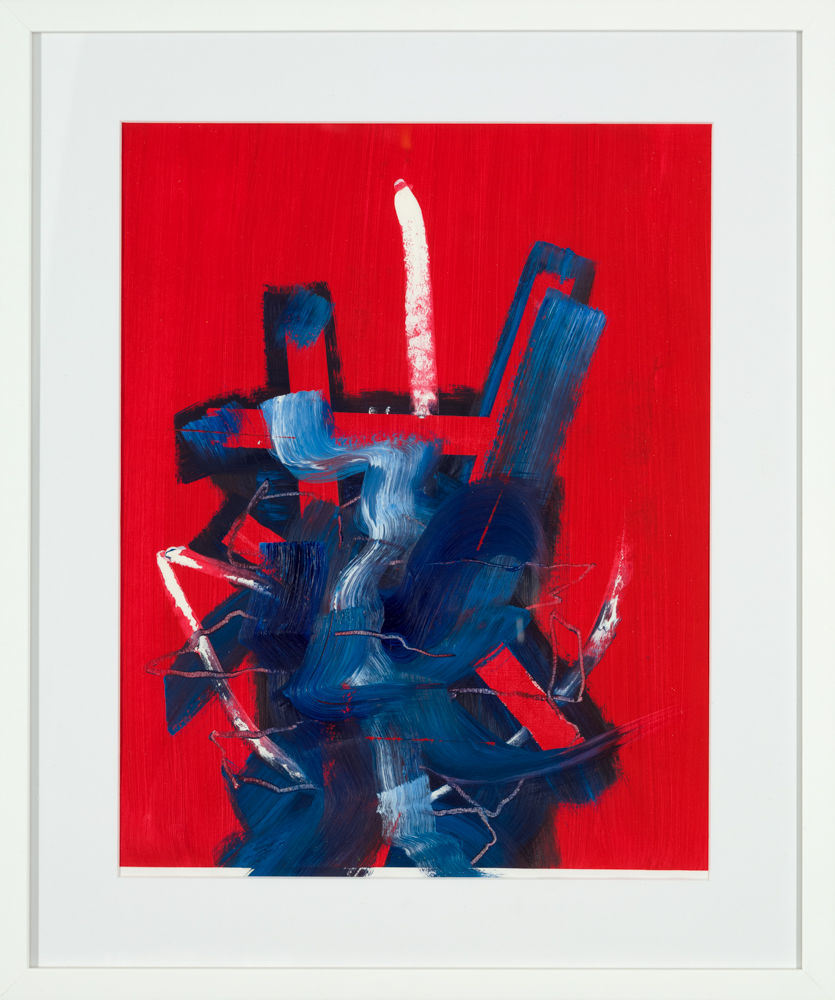 contemporary abstract art prints for sale, red and blue abstract art print
