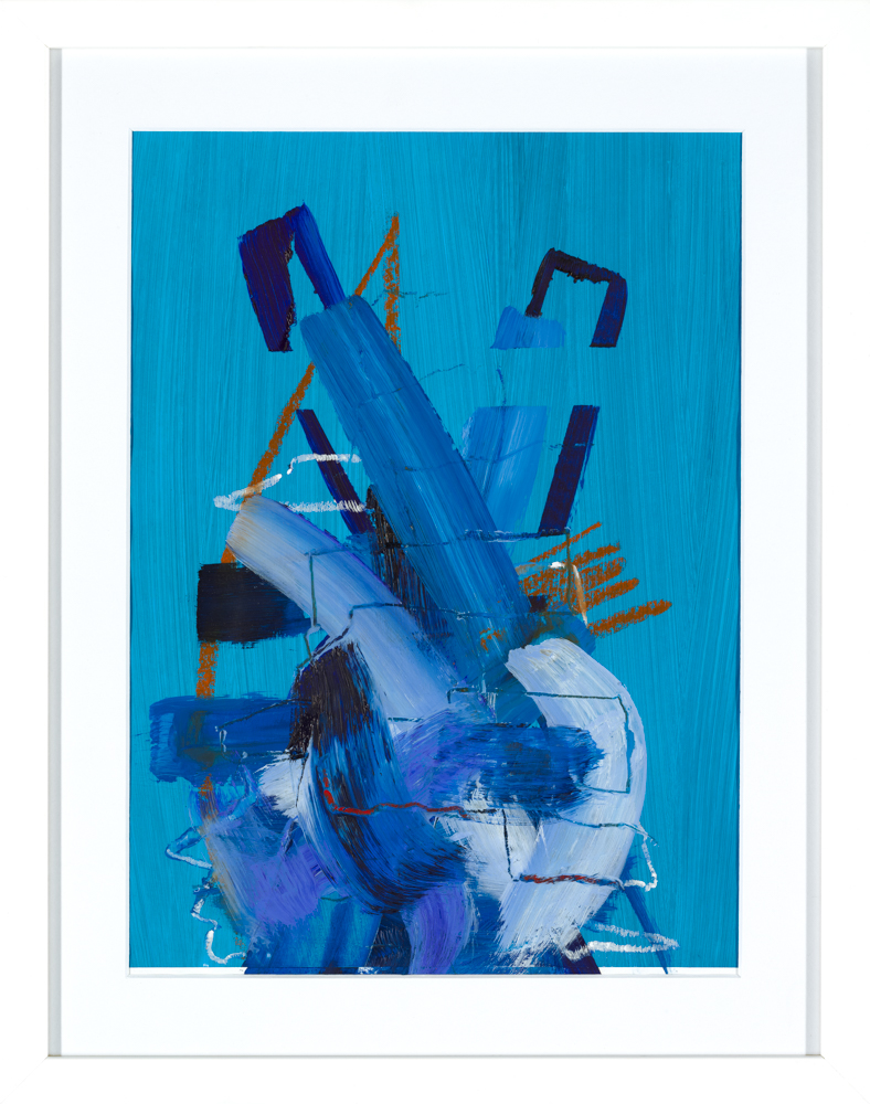bright blue expressive abstract painting by Aisling Drennan, practical materials used in art