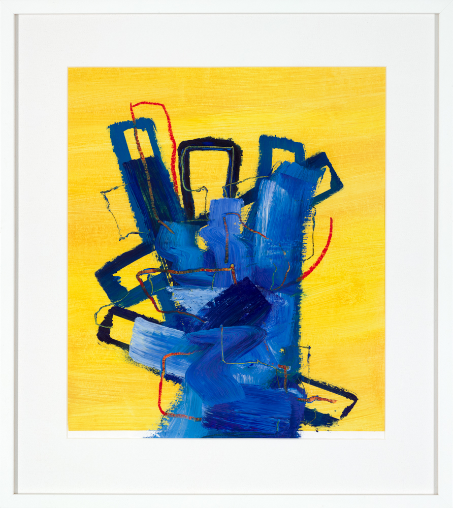 bright yellow abstract painting by artist Aisling Drennan, practical materials used art