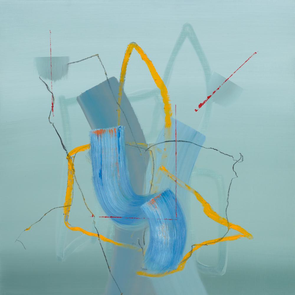 green abstract painting, London art fair 2021