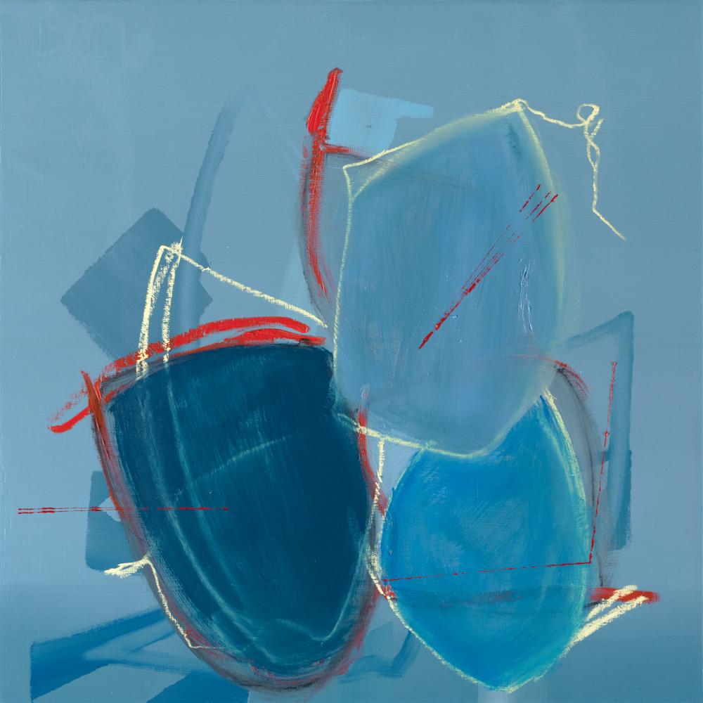 blue abstract painting by Aisling Drennan, London art fair 2021